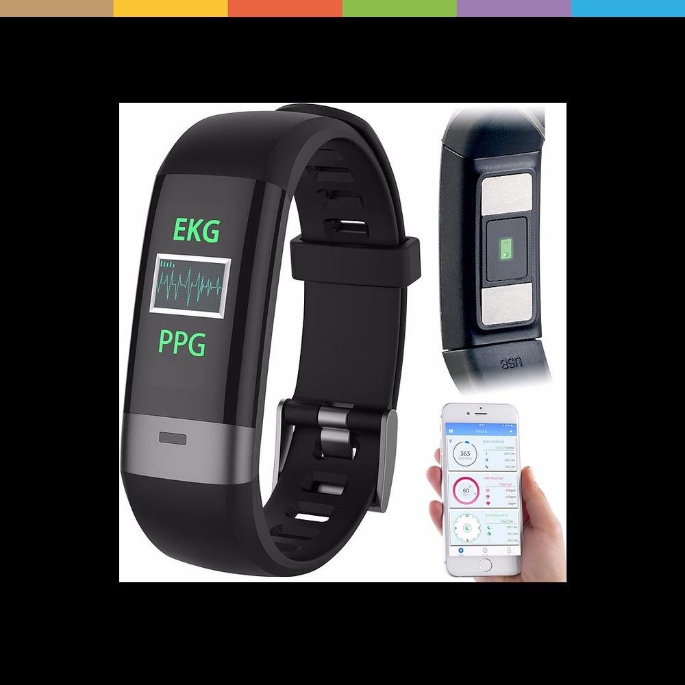 Sportuhr + Smartwatch Fitness-Armband, Blutdruck-/Herzfrequenz-/EKG-Anzeige, Bluetooth und App
