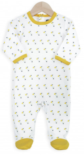 af51c5678cf95 Pyjama été bébé - Triangles  triangles  blanc  jaune  gris  nouveau