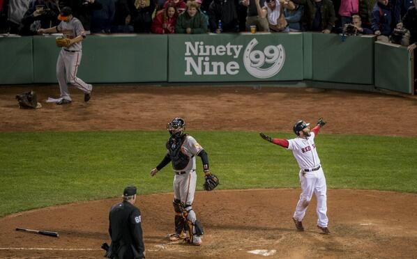 Boston Red Sox (@Kathi Winslow) tweeted at 11:18 PM on Sun, Apr 20, 2014: Yup Lasershow. 6-5 win. Who can sleep now... #WalkOffCity