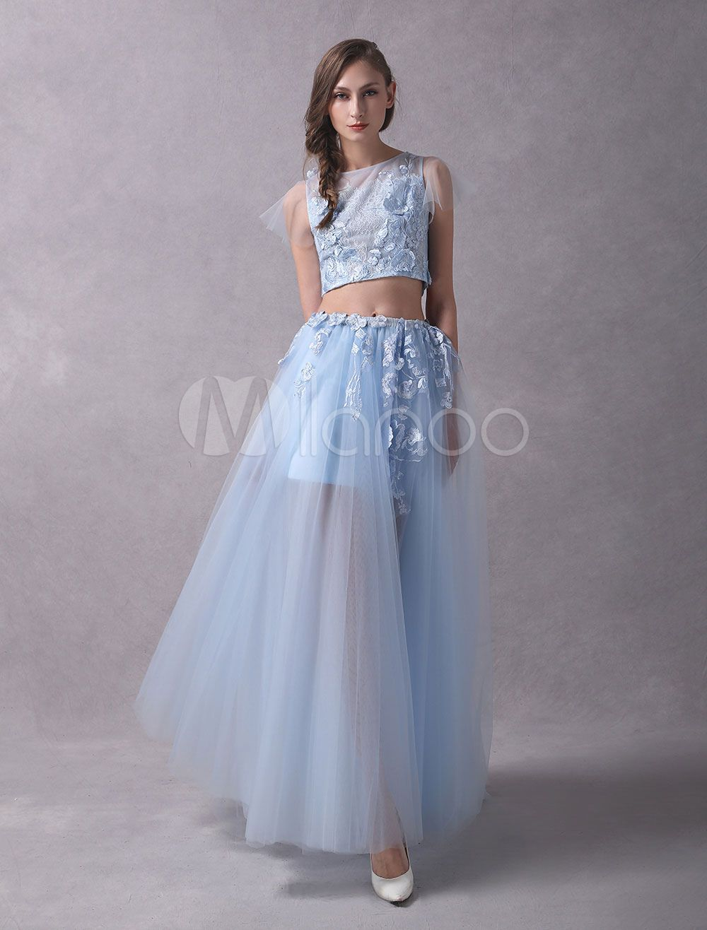 b36fef8a4f80b Prom Dresses Two Piece Lace Flowers Applique Short Sleeve Tulle Baby Blue  Party Dresses #Lace, #Flowers, #Applique