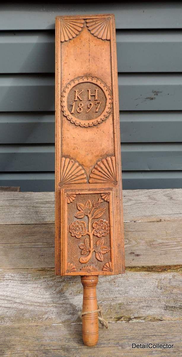 Antique victorian folk art carved mangle board or