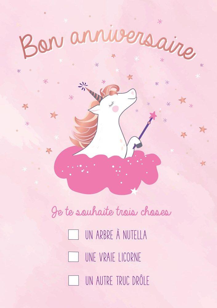 Carte Postale Double Licorne Bon Anniversaire Je Te Souhaite Trois Choses De Carte Postale Bon Anniversaire Joyeux Anniversaire Licorne Image Anniversaire