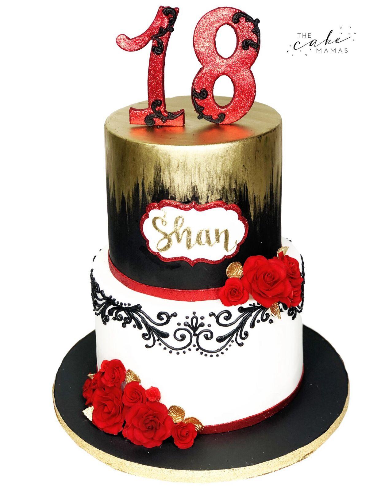 Black And Gold 18th Birthday Cake 18th Birthday Cake Cool