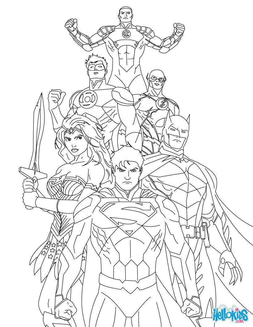 JUSTICE LEAGUE of AMERICA coloring page | steves | Pinterest ...