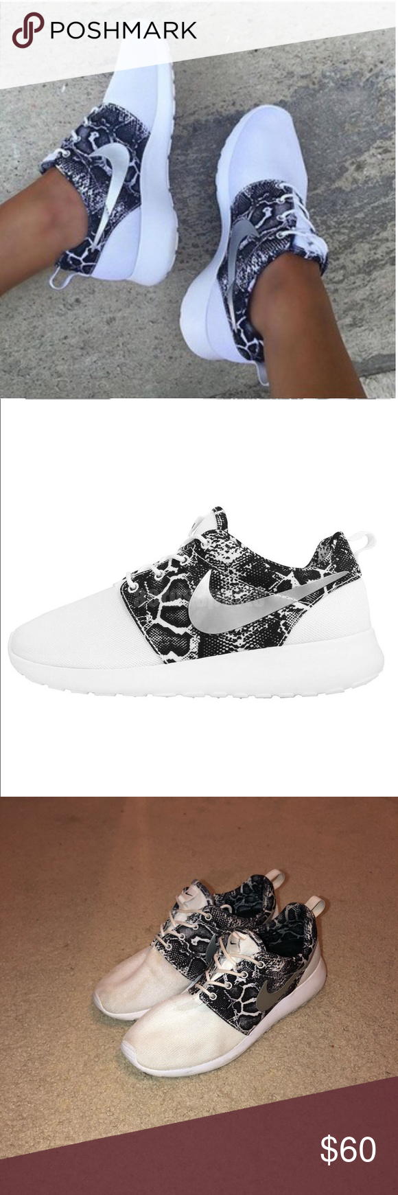 quality design a7f18 fb396 Nike roshe one print Snakeskin white silver women s slight dirt on mesh  part but can be washed away as new Nike Shoes Sneakers