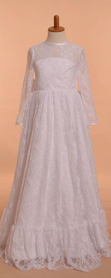 f9178456b8b White lace boho first communion dresses long sleeves modest first communion  dresses floor length bohomian girl s communion dress