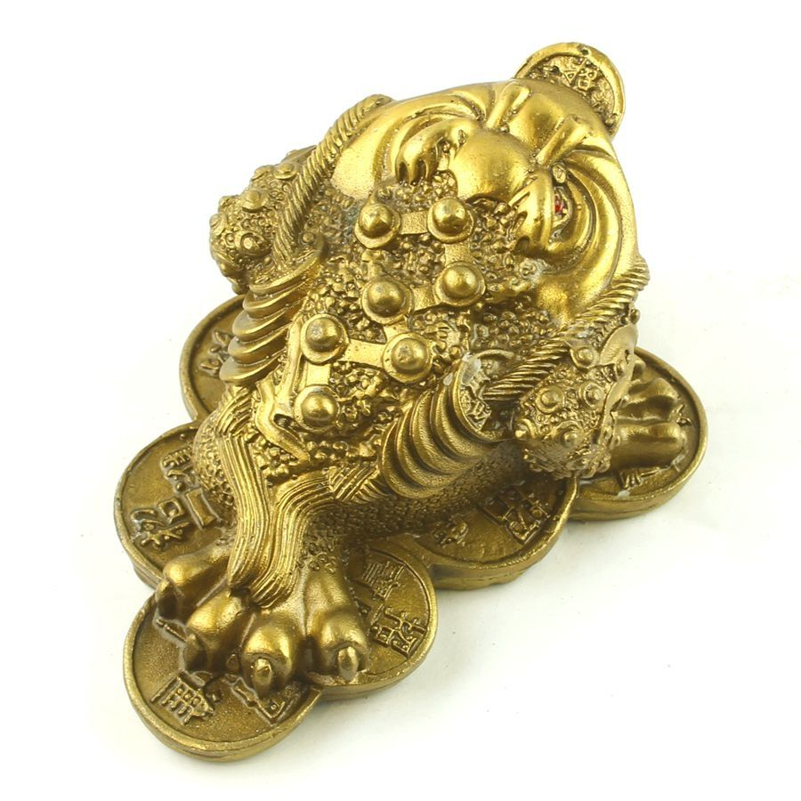"""5.5/"""" Chinese Bronze Lovable Animal Golden Toad Spittor Money Coin Wealth Statue"""