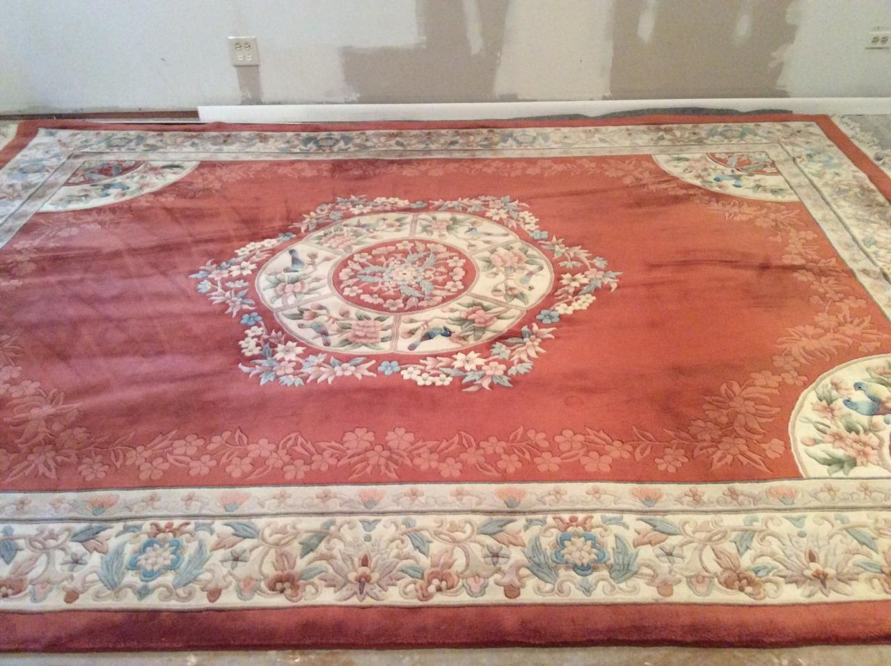 Vintage Hand Knotted Chinese Rug French Aubusson Style