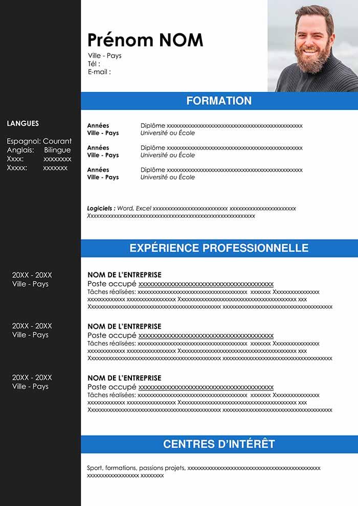 Exemple de CV Canadien Gratuit à Télécharger CV Word en