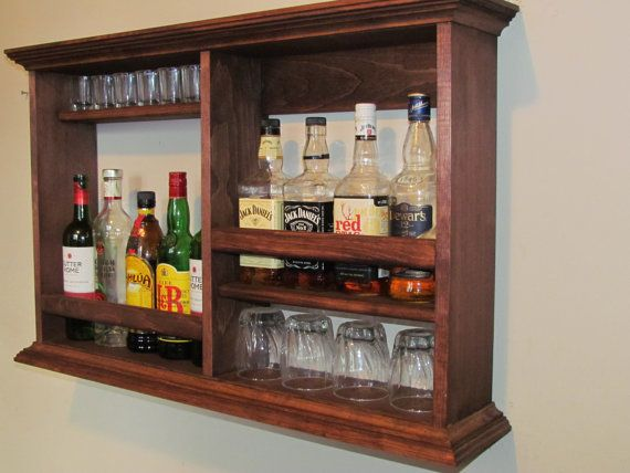 Minibar Wohnzimmer ~ Mini bar. red mahogany stain wall mounted liquor cabinet