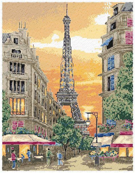 Paris christmas cards | Item: PARIS SUNSET (Cross-stitch chart ...