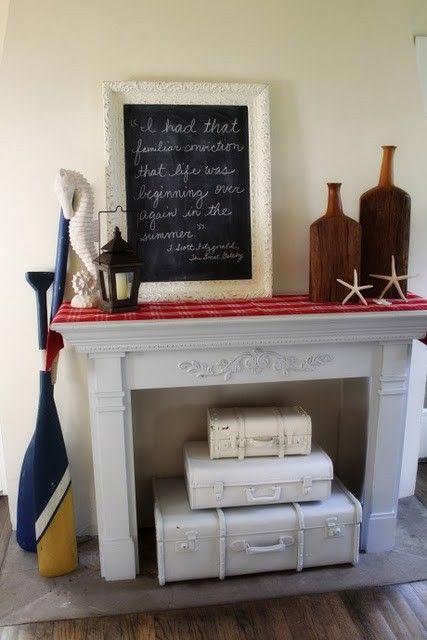 Unused Fireplace As Suitcase Storage Unused Fireplace