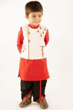 16c26b4fc6513 Dinosaur motif white jacket with red kurta and black dhoti   Baby ...