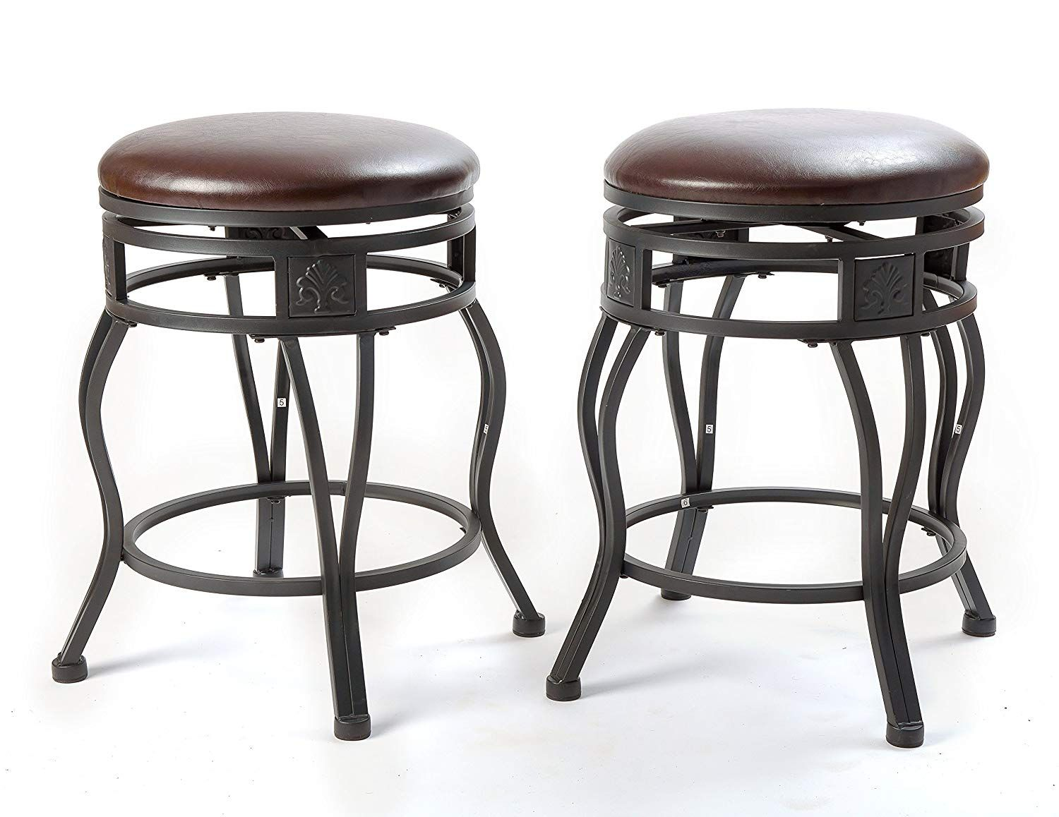 Ehemco 24 Swivel Metal Barstool With Faux Leather Seat In