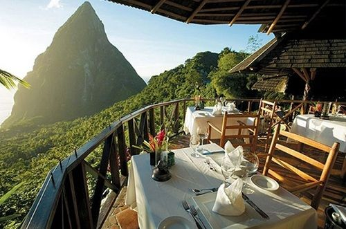 Breathtaking views from Restaurant in St. Lucia