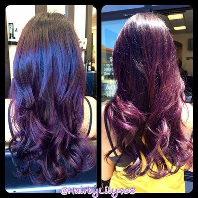 4e456db00f Indoor vs. Natural sunlight! No filter! Balayage purple plum. No direct dyes  used. Haircolor only, not pravana! | Yelp