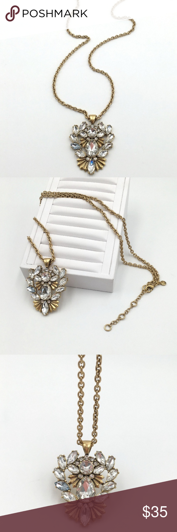 Coming jcrew crystal flower pendant necklace crystal flower