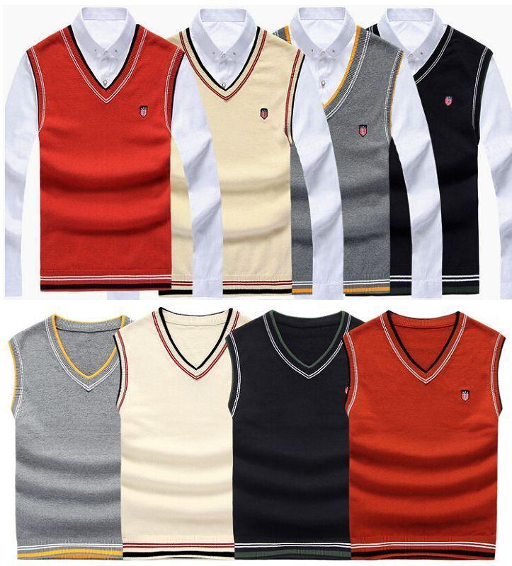 New Mens Knitted Vest Jumper Golf Sweater Sleeveless V Neck Tank ...