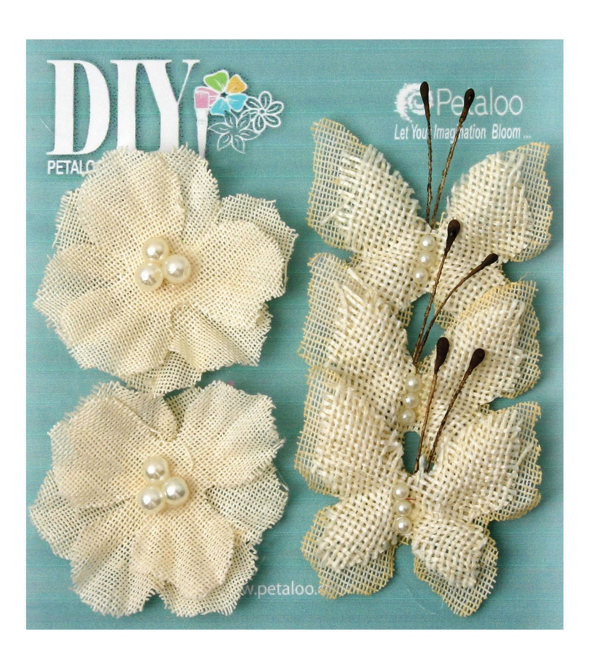 Petaloo diy paintables 5pcs burlap butterflies blossoms for Burlap flower template