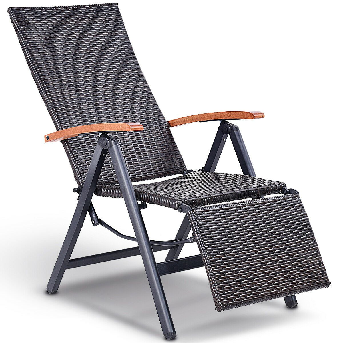Details About Patio Folding Chair Lounge Recliner Chair Rattan