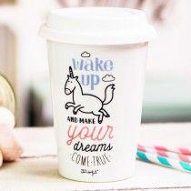 """Mug take away licorne """"Wake up"""""""