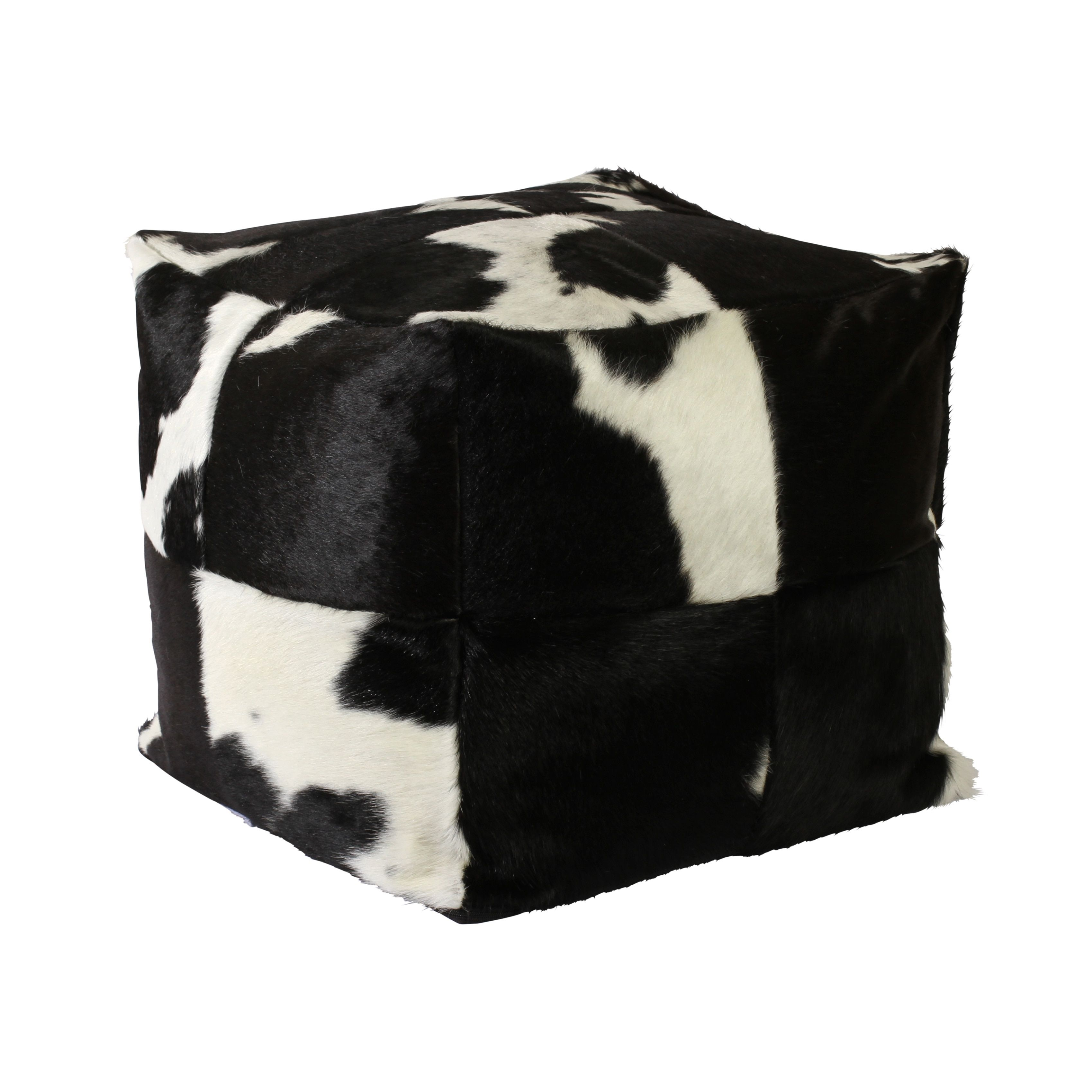 Bring a cowboy or western touch to your home decor with this cowhide pouf. Four cowhides are stitched together and filled with polystyrene beads for comfort when sitting. Pillow Shape: Square Material