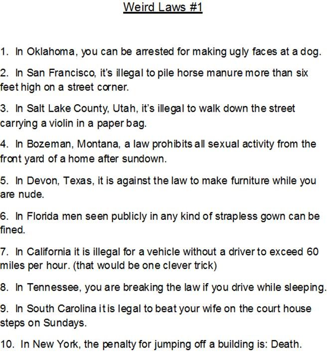 Dumb laws in tennessee