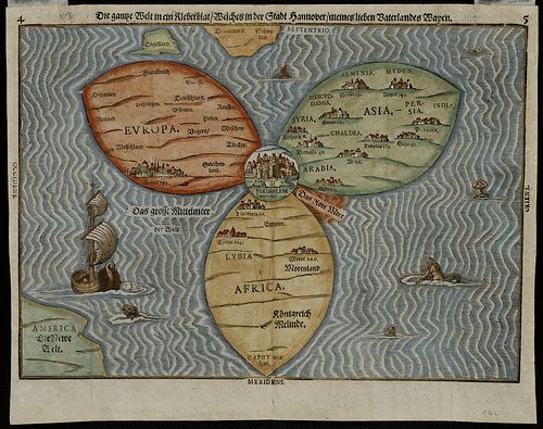 Depicting the world as a cloverleaf, this cartographic curiosity - new world map of africa