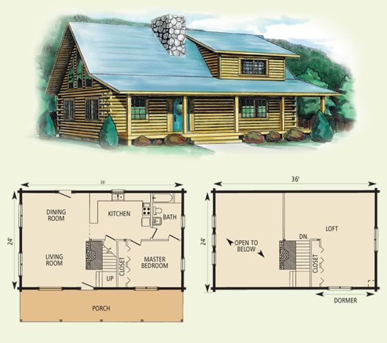 Wildwood ii log home and log cabin floor plan 864 sq ft for Square log cabin plans