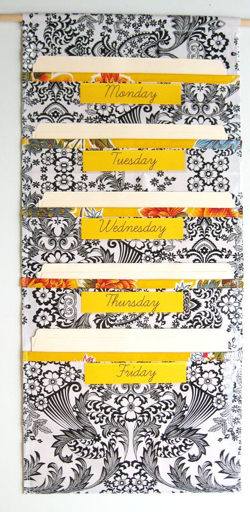 Black Toile Oilcloth File Folder Pocket Chart Wall Pocket : Five ...