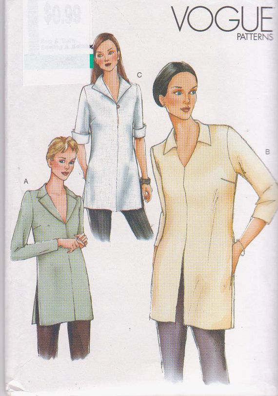Sewing pattern for loose fitting, pullover, tunic top with long or ...