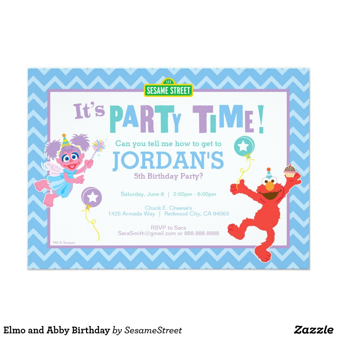 Elmo and Abby Birthday Card Personalize this cute Sesame Street ...
