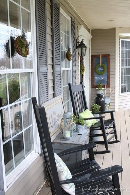 Front Porch Decorating Ideas With The Perfect Adirondack Chairs Our House Now A Home: 37 Wonderful Rustic Farmhouse Porch Decor Ideas