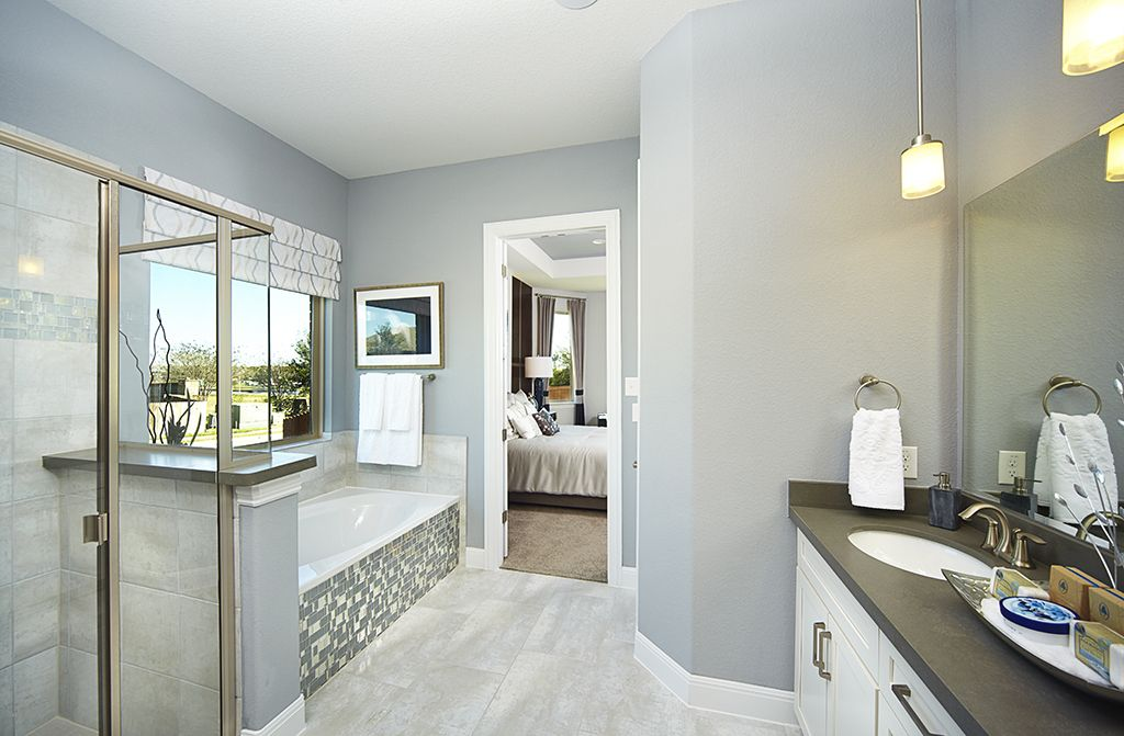 Gehan Homes Master Bathroom - Mosaic tile, drop in spa tub, white ...