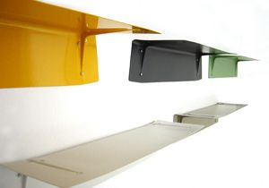 colored metal shelves