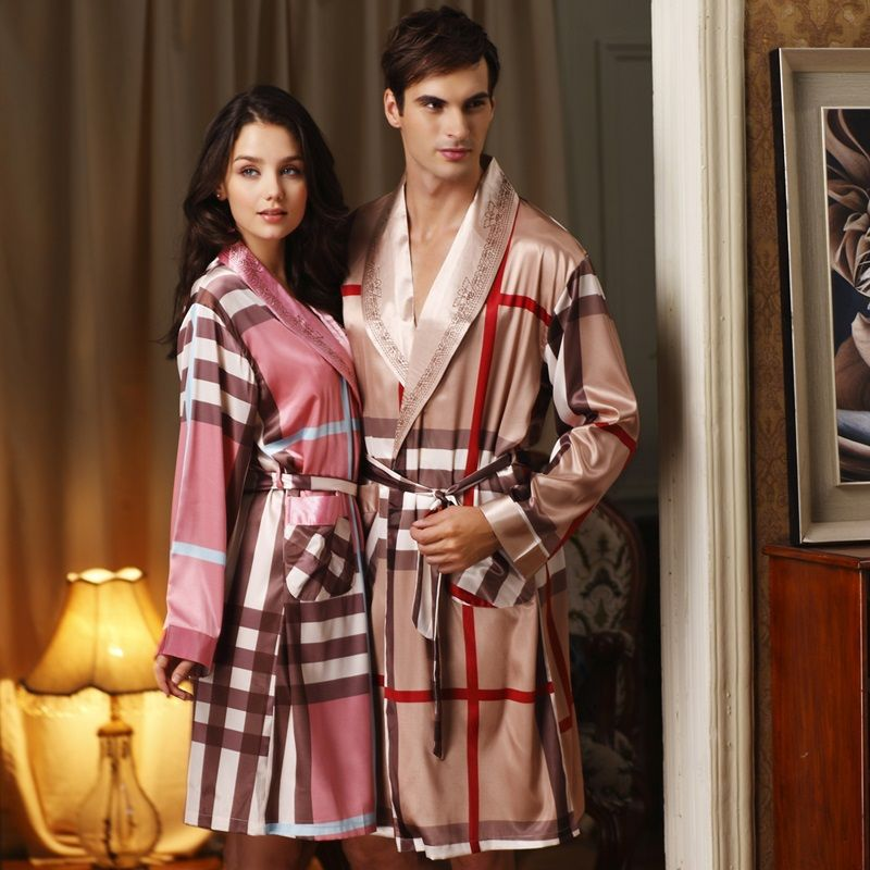 076eac2b126f His   Hers Matching Couples Silk Robe Sets Sleepwear Nightgown for Men    Women on Yoyoon.com