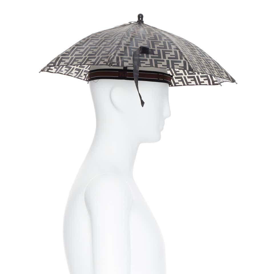 Runway Fendi Grey Ff Logo Mongram Print Rubber Forever Umbrella Hat Rare Ff Logo Fendi Umbrella
