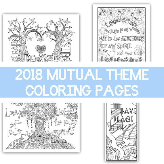 Package of all four - 2018 Mutual Theme Coloring Pages 8.5\