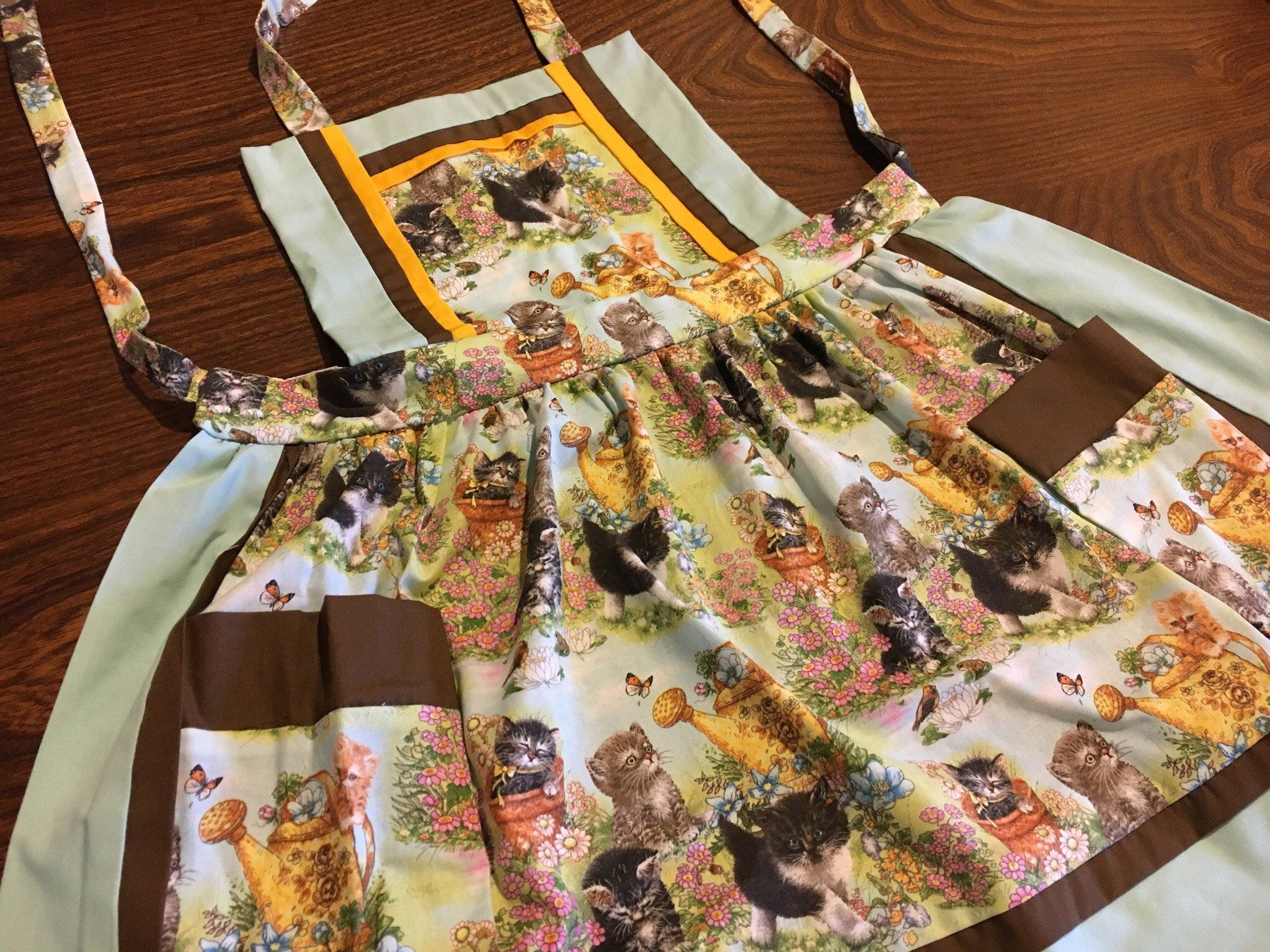 Kitten Apron Hand Made Apron Cat Apron Playful Kittens Handmade Childrens Aprons Cat Fabric
