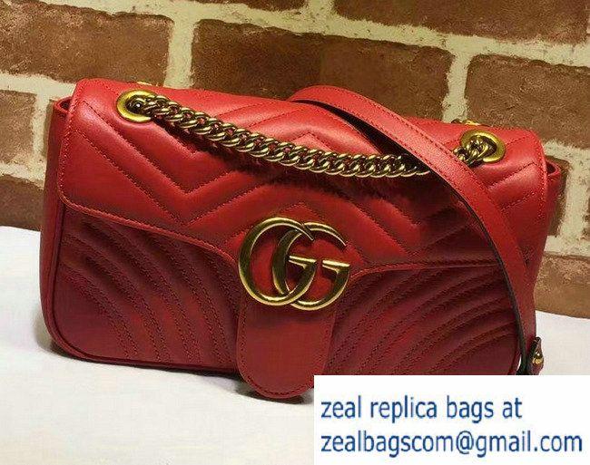 Gucci GG Marmont Matelasse Chevron Small Chain Shoulder Bag 443497 Red 2016 5944b38933d22