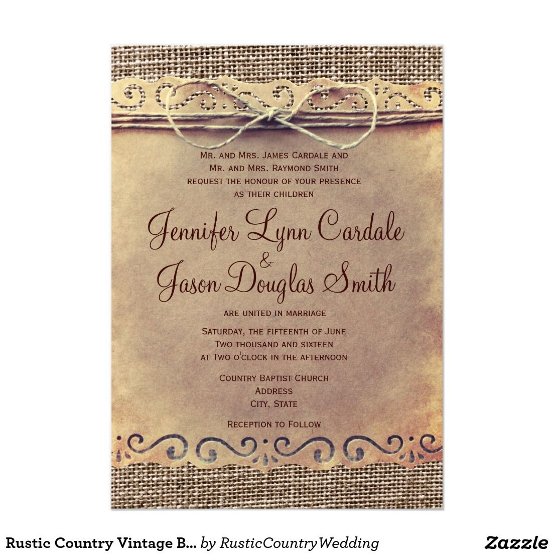 Rustic Country Vintage Burlap Wedding Invitations Burlap Weddings