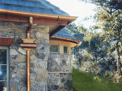 Downspout Collector Rutland Installed Radius Half Round Copper Gutters Seamless Round Copper Gutters Gutters How To Install Gutters