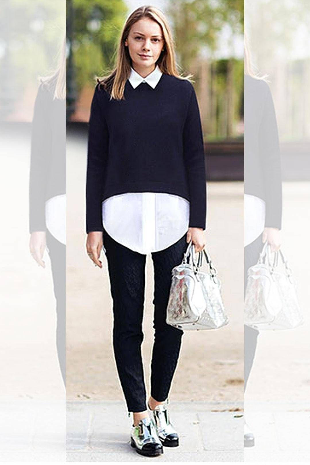 This blouse features dual-tone, like two pieces. Accented with white collar and hem and back zip closure,it completes the casual look with an elegant touch. Team it with a flats and a hand bag.