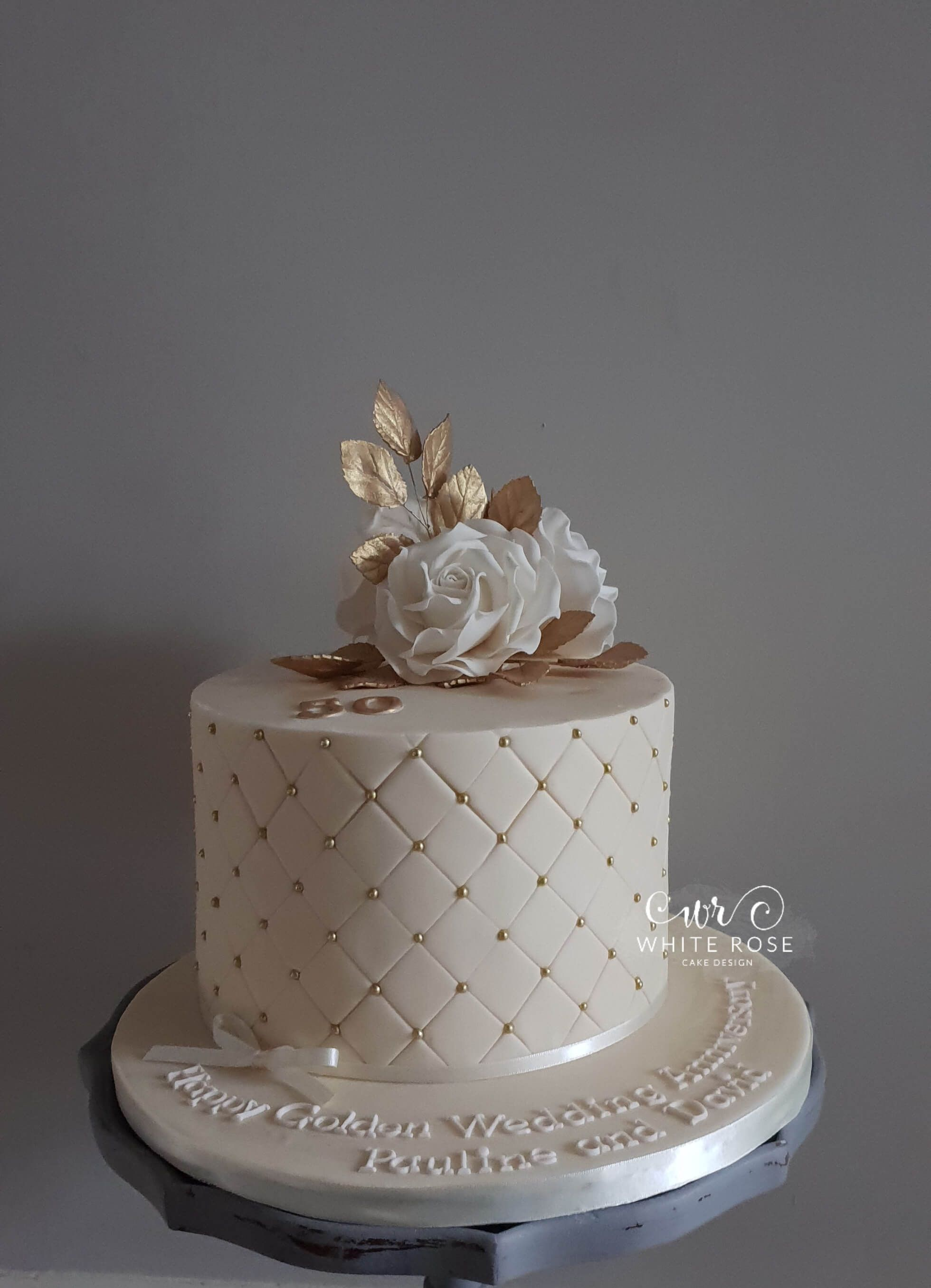 50th Golden Wedding Anniversary Cake By White Rose Cake Design