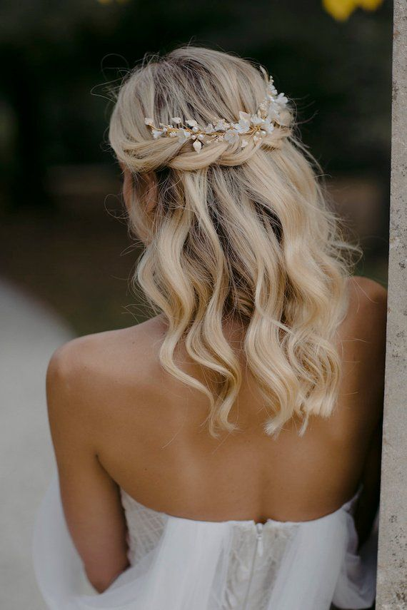 LYRIC | Floral hair piece in pale gold, wedding headpiece for boho weddings