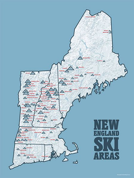 New England Ski Resorts Map Poster