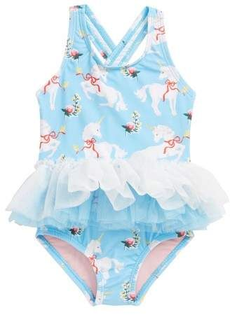 5ae52c2997fd4 Rock Your Baby White Unicorns Tulle One-Piece Swimsuit. Your aspiring  ballerina can swim in style with this whimsical, unicorn-patterned one-piece  finished ...