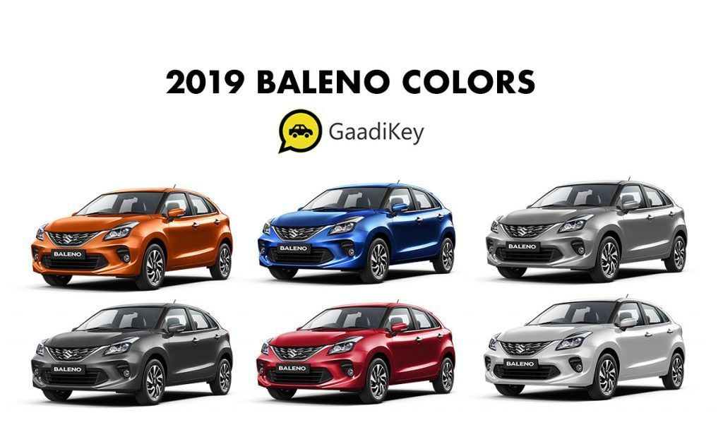 2019 Baleno Colors Blue Red Silver Grey Orange White Red