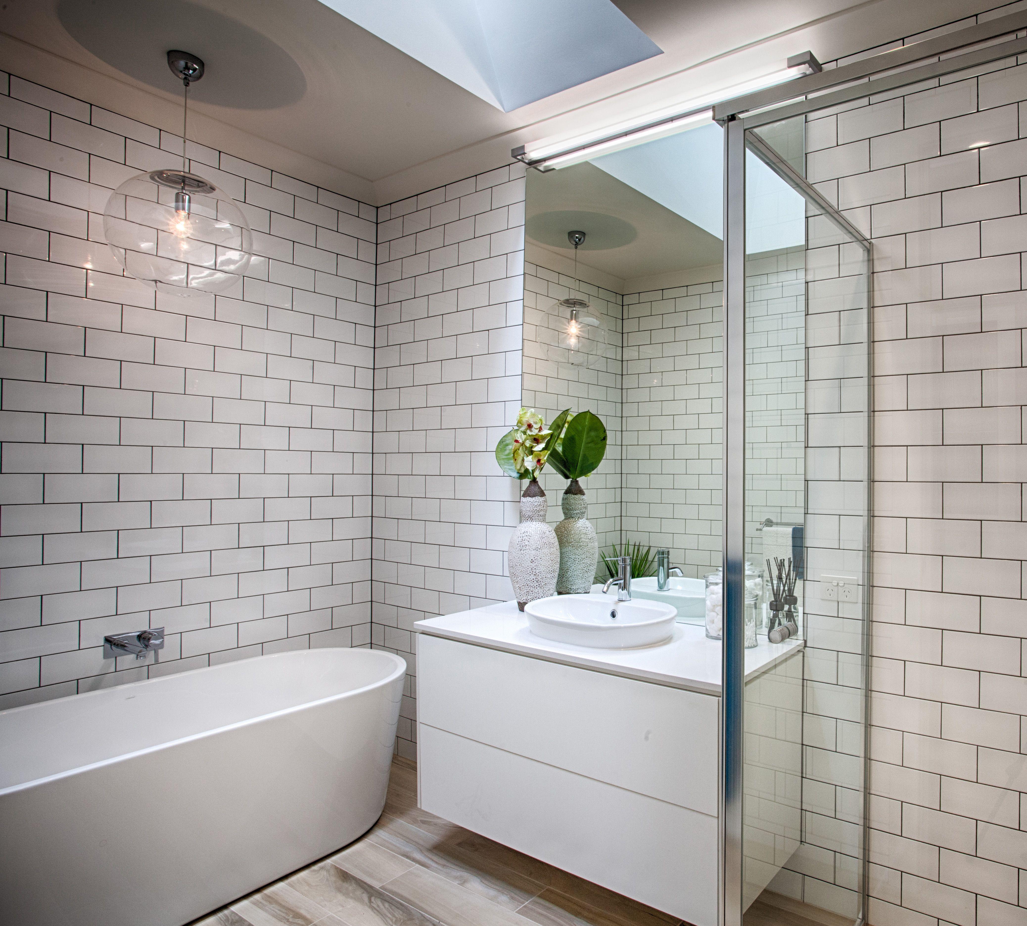 A Very Modern Styled Bathroom With 'brick' Tiles