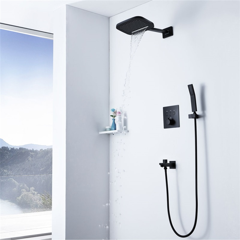 Black Thermostatic Shower Faucet Concealed Shower Faucet Two